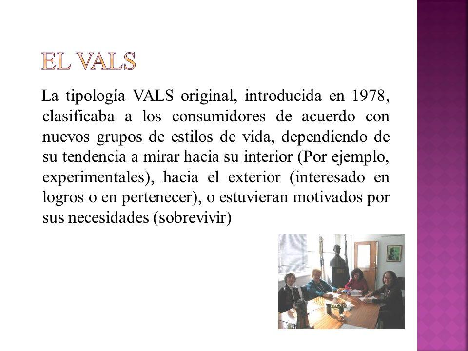 La tipología VALS original, introducida en 1978, clasificaba a los consumidores de acuerdo con nuevos grupos de estilos de vida, dependiendo de su ten