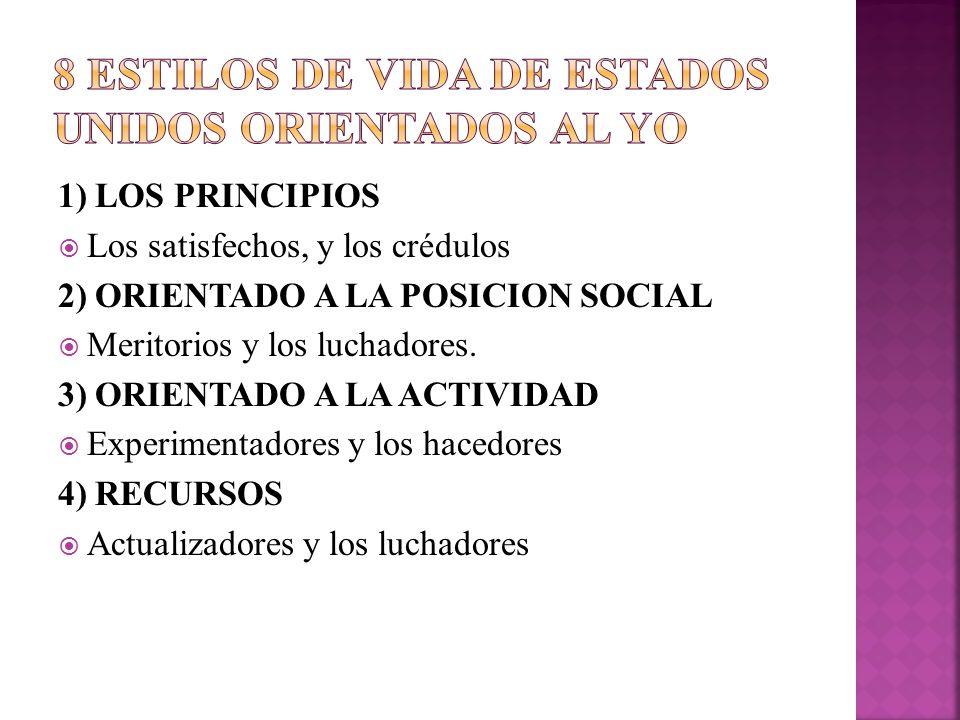 1) LOS PRINCIPIOS Los satisfechos, y los crédulos 2) ORIENTADO A LA POSICION SOCIAL Meritorios y los luchadores. 3) ORIENTADO A LA ACTIVIDAD Experimen