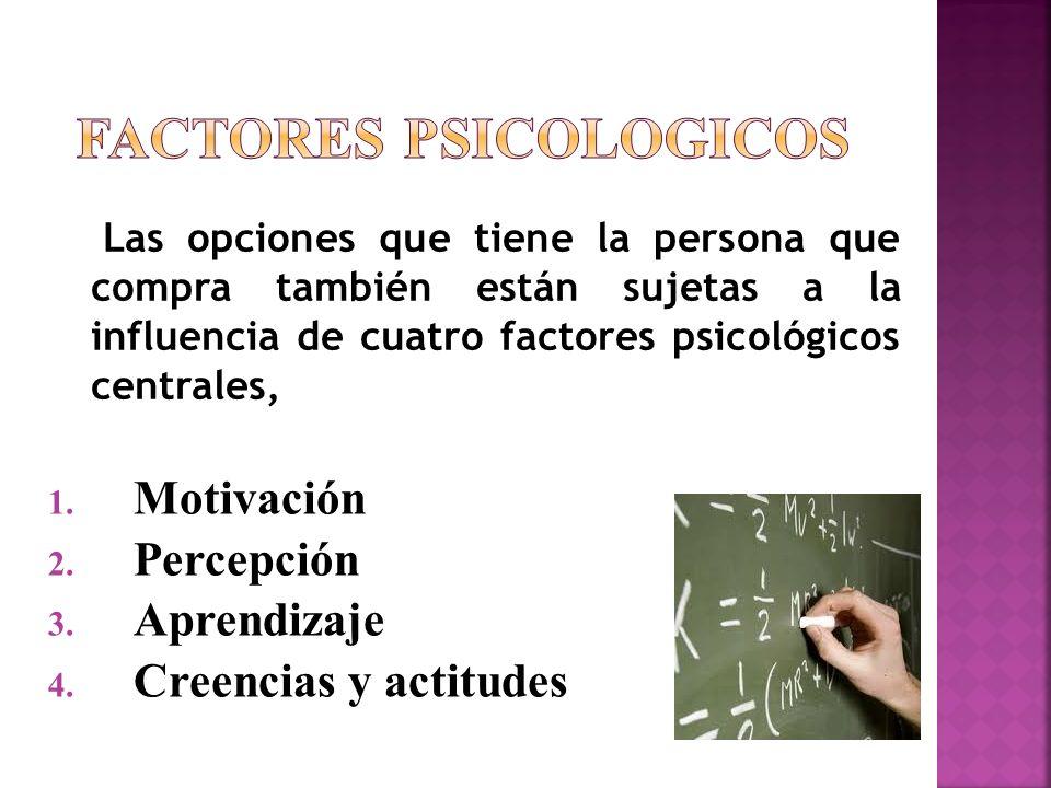 1. Motivación 2. Percepción 3. Aprendizaje 4. Creencias y actitudes Las opciones que tiene la persona que compra también están sujetas a la influencia