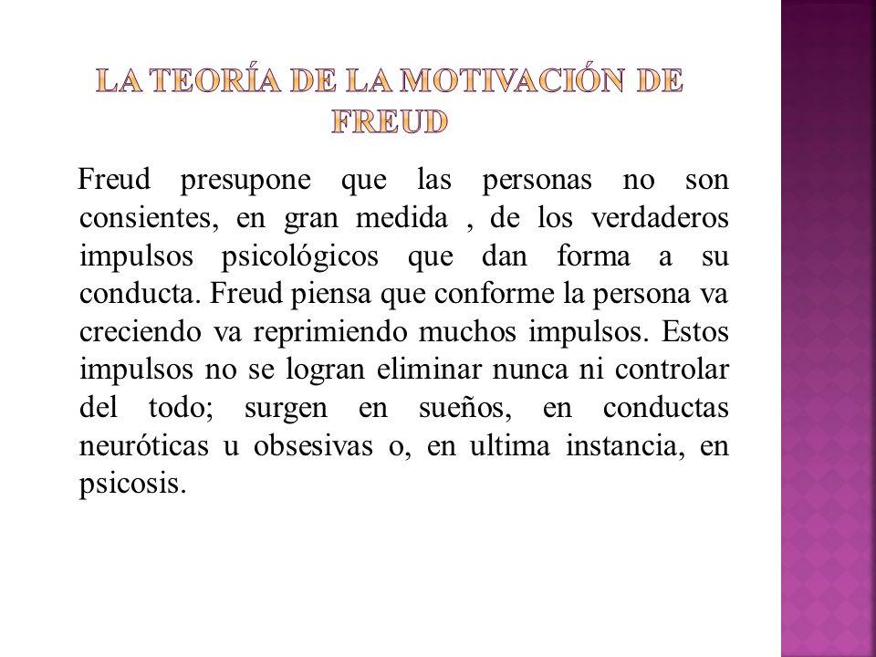 Freud presupone que las personas no son consientes, en gran medida, de los verdaderos impulsos psicológicos que dan forma a su conducta. Freud piensa