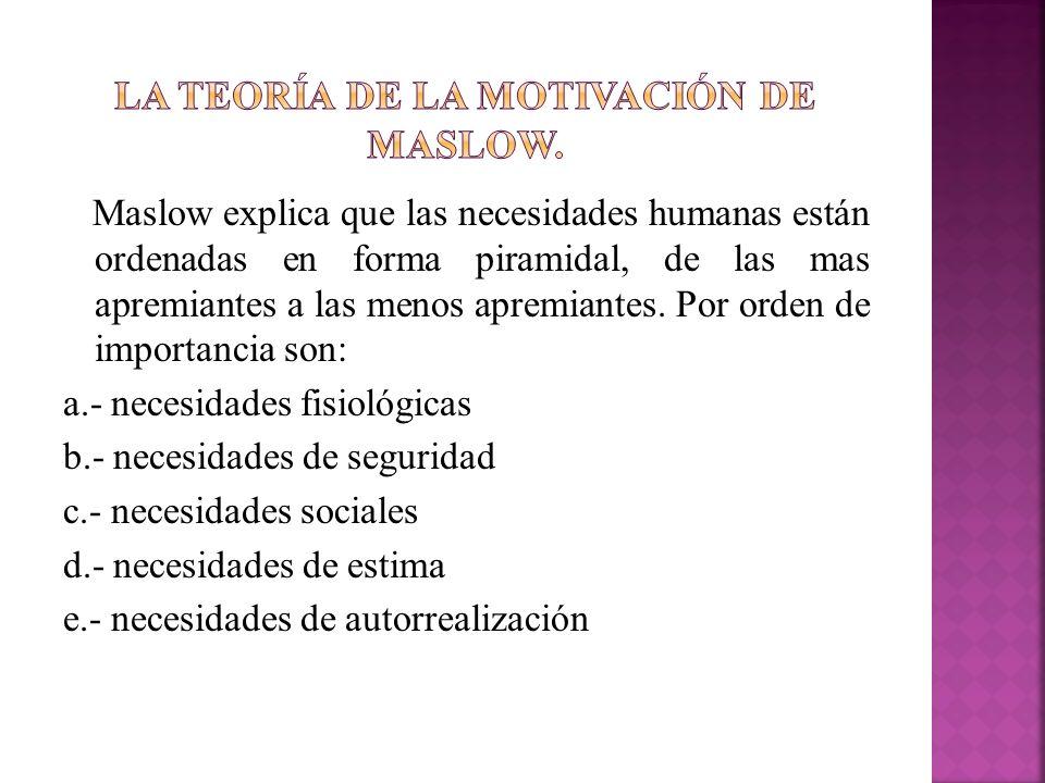 Maslow explica que las necesidades humanas están ordenadas en forma piramidal, de las mas apremiantes a las menos apremiantes. Por orden de importanci