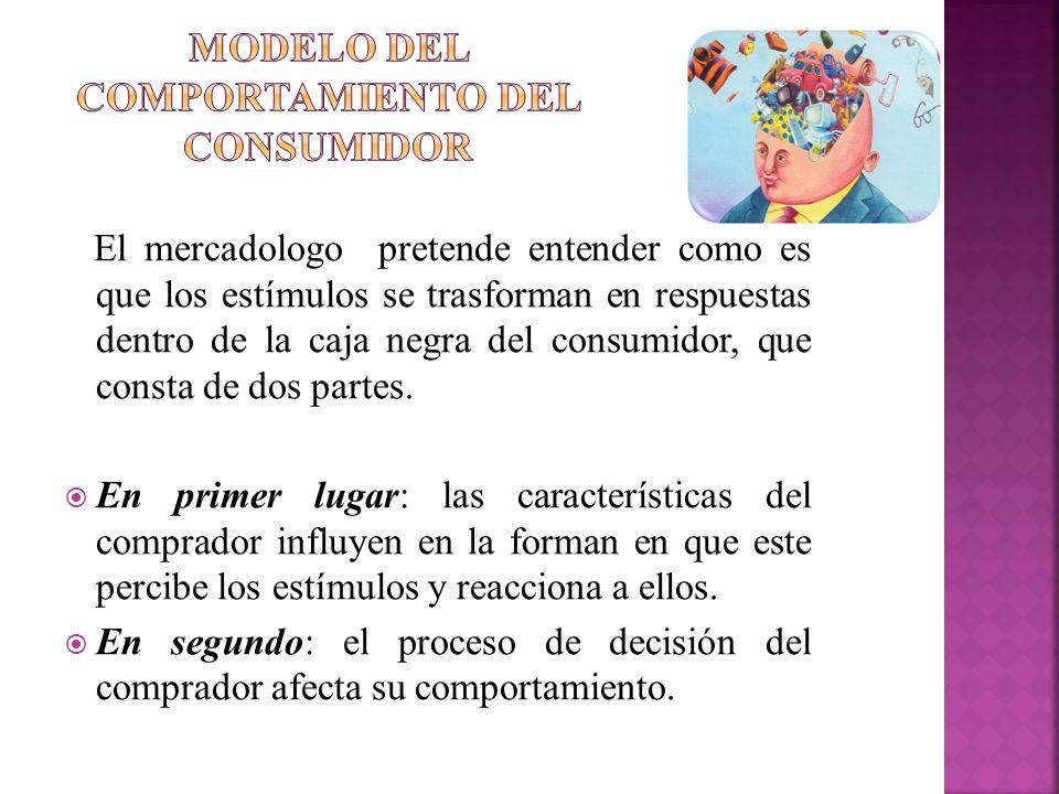 El mercadologo pretende entender como es que los estímulos se trasforman en respuestas dentro de la caja negra del consumidor, que consta de dos parte