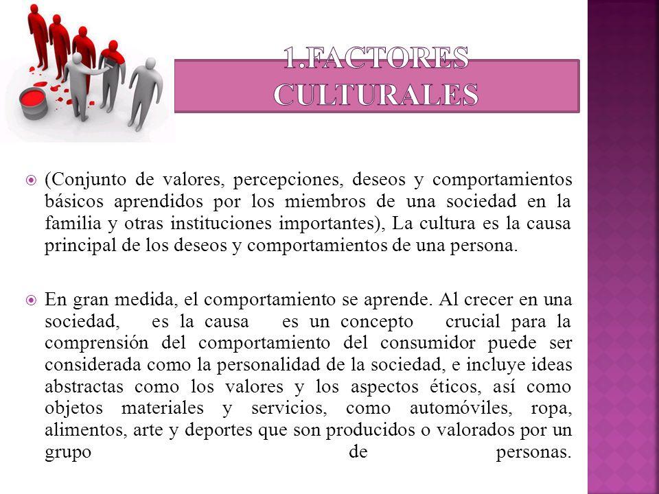 (Conjunto de valores, percepciones, deseos y comportamientos básicos aprendidos por los miembros de una sociedad en la familia y otras instituciones i