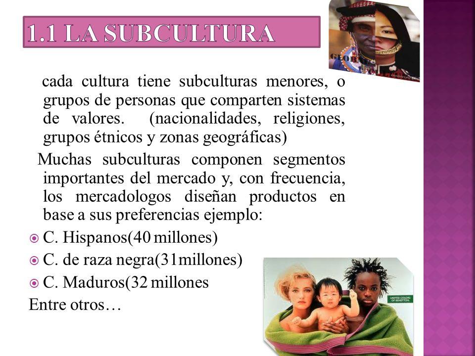 cada cultura tiene subculturas menores, o grupos de personas que comparten sistemas de valores. (nacionalidades, religiones, grupos étnicos y zonas ge