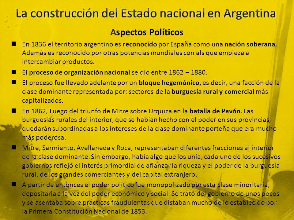 Aspectos Políticos En 1836 el territorio argentino es reconocido por España como una nación soberana. Además es reconocido por otras potencias mundial