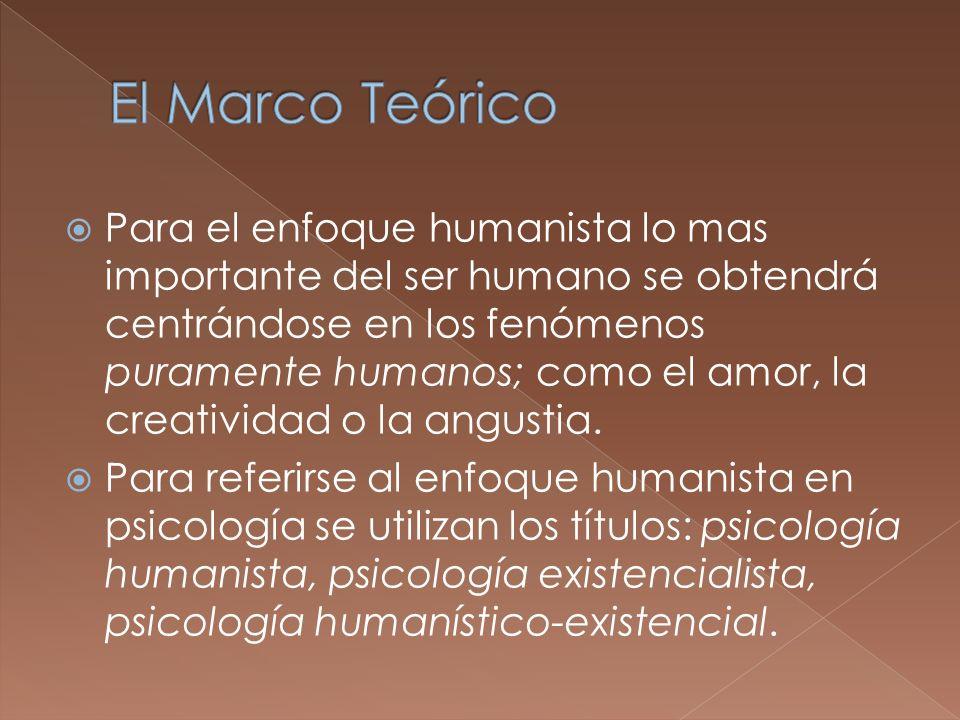 Para el enfoque humanista lo mas importante del ser humano se obtendrá centrándose en los fenómenos puramente humanos; como el amor, la creatividad o