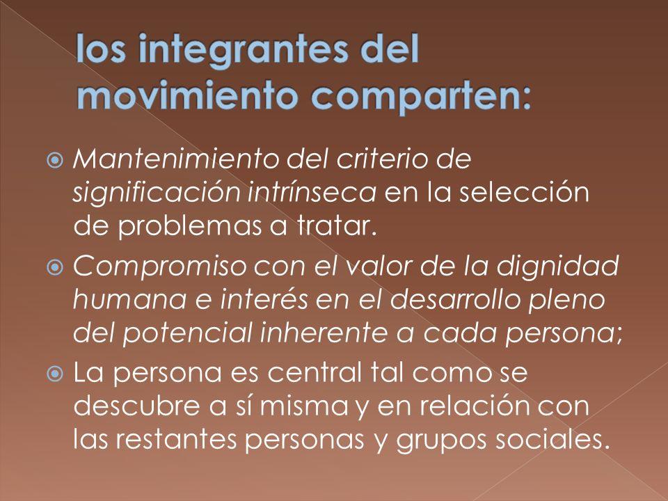 Mantenimiento del criterio de significación intrínseca en la selección de problemas a tratar. Compromiso con el valor de la dignidad humana e interés