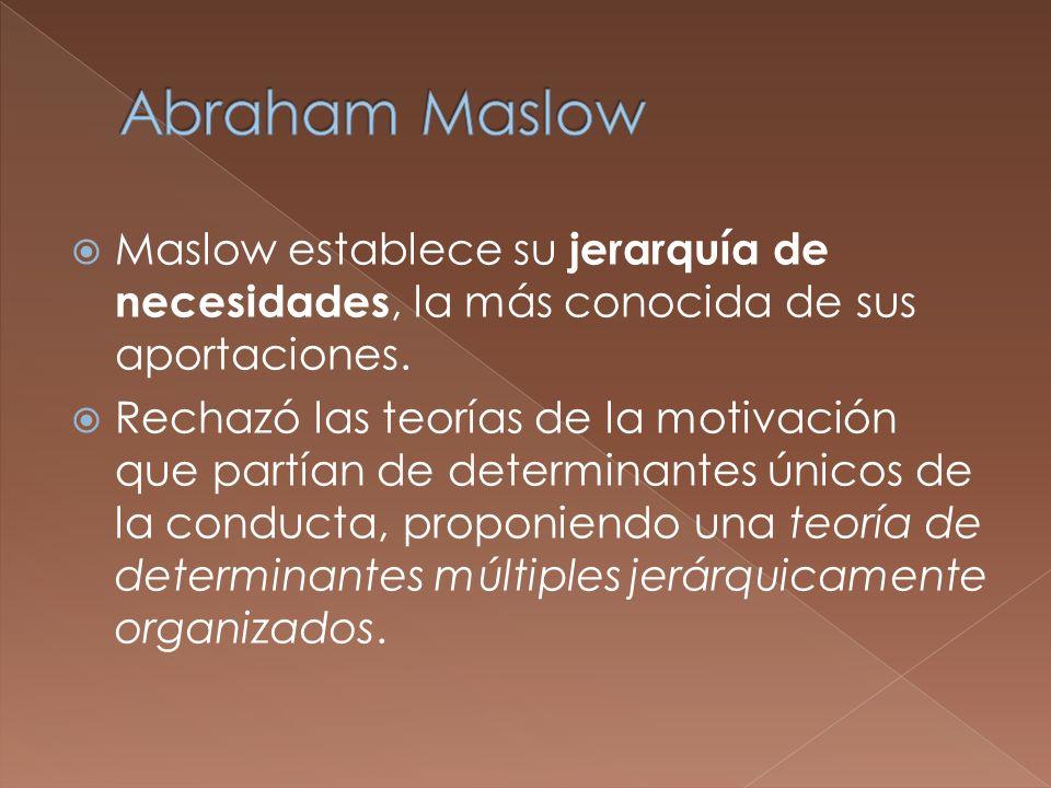 Maslow establece su jerarquía de necesidades, la más conocida de sus aportaciones. Rechazó las teorías de la motivación que partían de determinantes ú