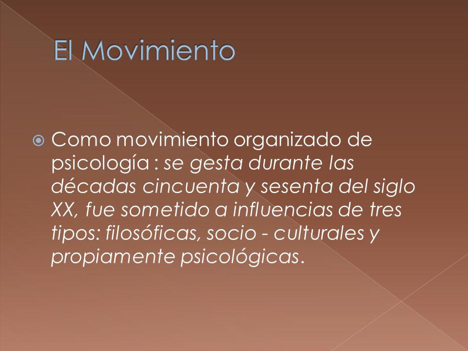 Como movimiento organizado de psicología : se gesta durante las décadas cincuenta y sesenta del siglo XX, fue sometido a influencias de tres tipos: fi