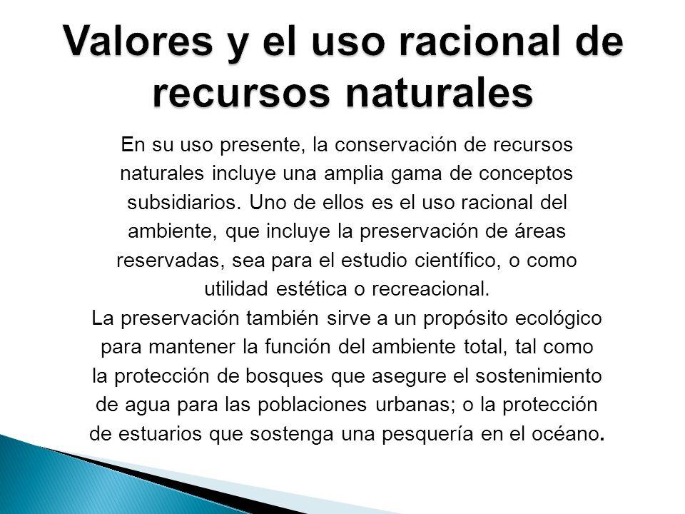 En su uso presente, la conservación de recursos naturales incluye una amplia gama de conceptos subsidiarios. Uno de ellos es el uso racional del ambie