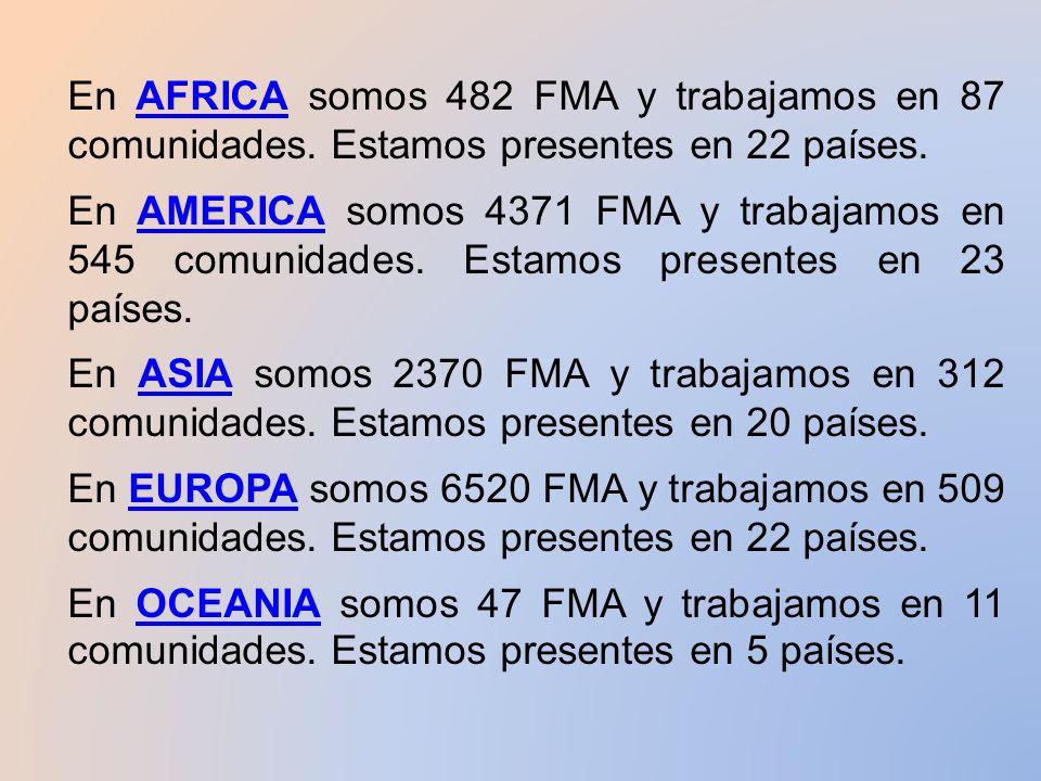 En AFRICA somos 482 FMA y trabajamos en 87 comunidades.