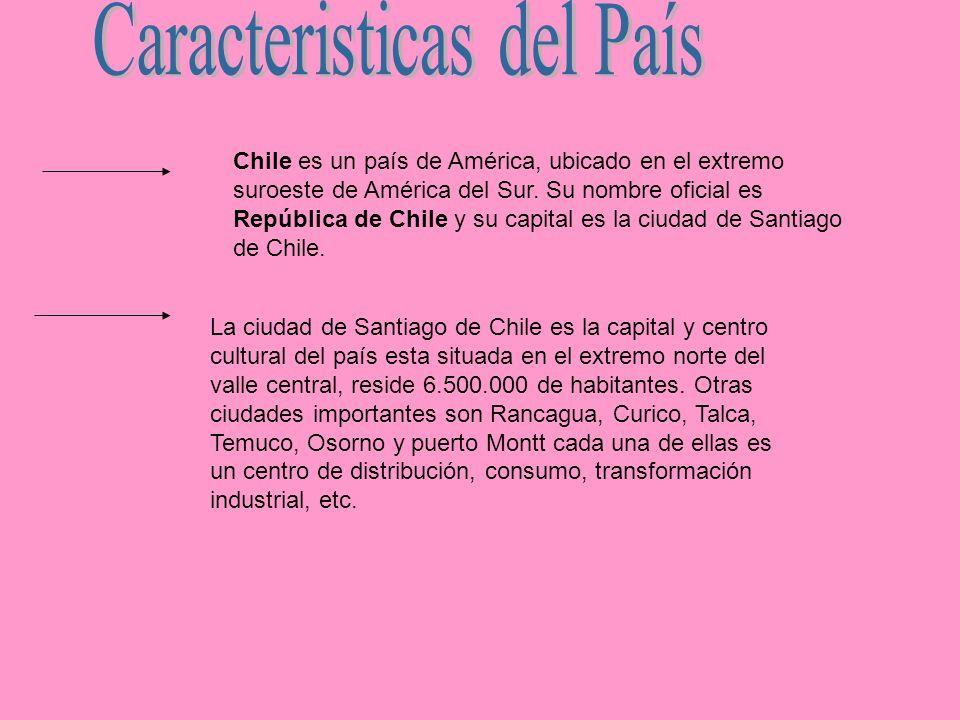 Chile es un país de América, ubicado en el extremo suroeste de América del Sur. Su nombre oficial es República de Chile y su capital es la ciudad de S