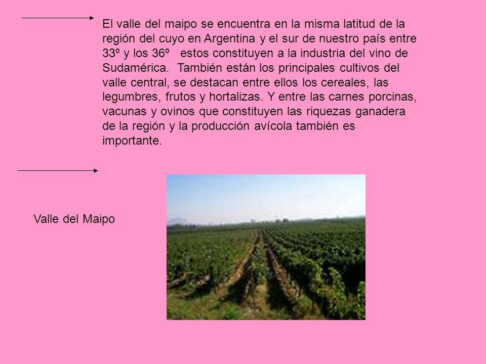 El valle del maipo se encuentra en la misma latitud de la región del cuyo en Argentina y el sur de nuestro país entre 33º y los 36º estos constituyen