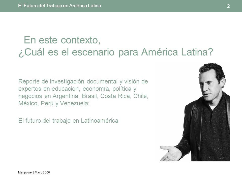 Manpower | Mayo 2006 2 El Futuro del Trabajo en América Latina En este contexto, ¿Cuál es el escenario para América Latina.