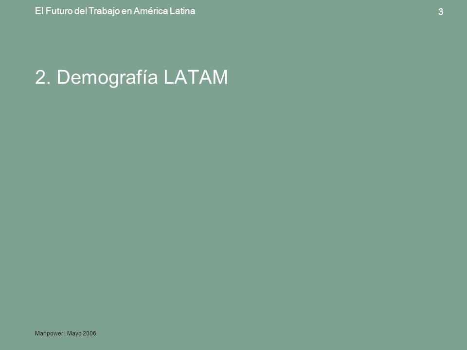 Manpower | Mayo 2006 3 El Futuro del Trabajo en América Latina 2. Demografía LATAM