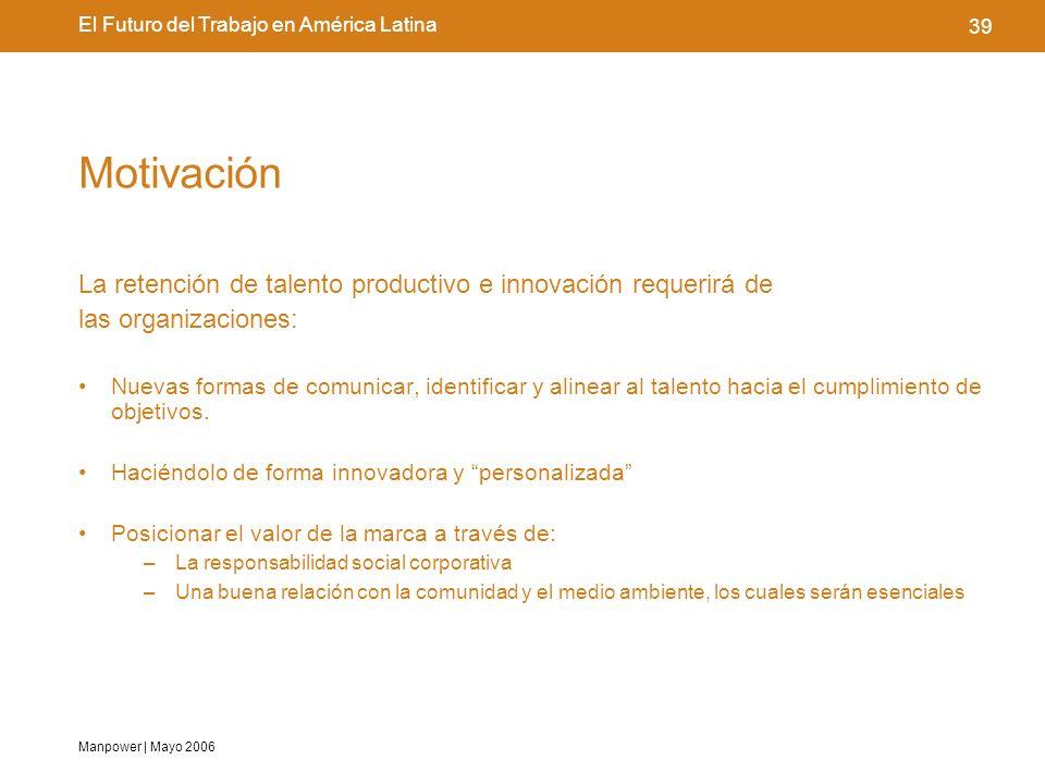 Manpower | Mayo 2006 39 El Futuro del Trabajo en América Latina Motivación La retención de talento productivo e innovación requerirá de las organizaciones: Nuevas formas de comunicar, identificar y alinear al talento hacia el cumplimiento de objetivos.