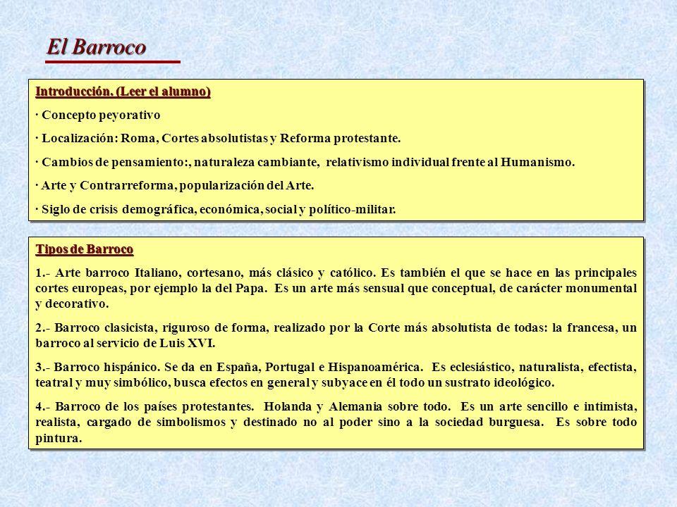 El Barroco Introducción. (Leer el alumno) · Concepto peyorativo · Localización: Roma, Cortes absolutistas y Reforma protestante. · Cambios de pensamie