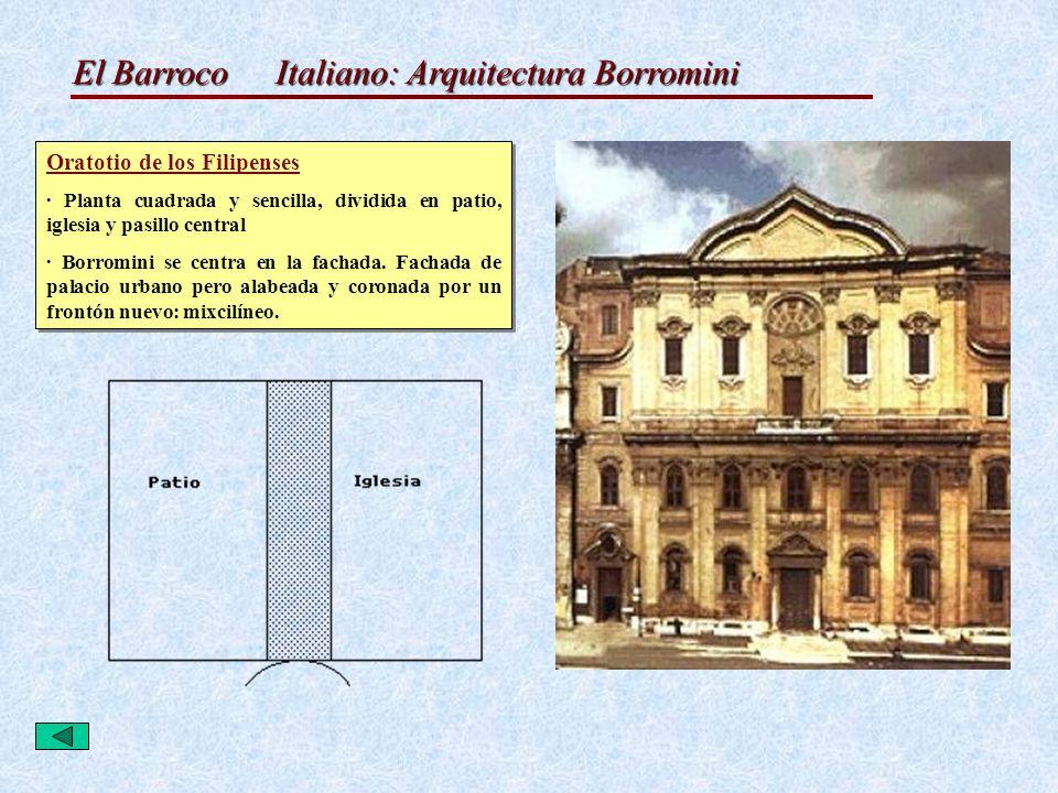 El Barroco Italiano: Arquitectura Borromini Oratotio de los Filipenses · Planta cuadrada y sencilla, dividida en patio, iglesia y pasillo central · Bo