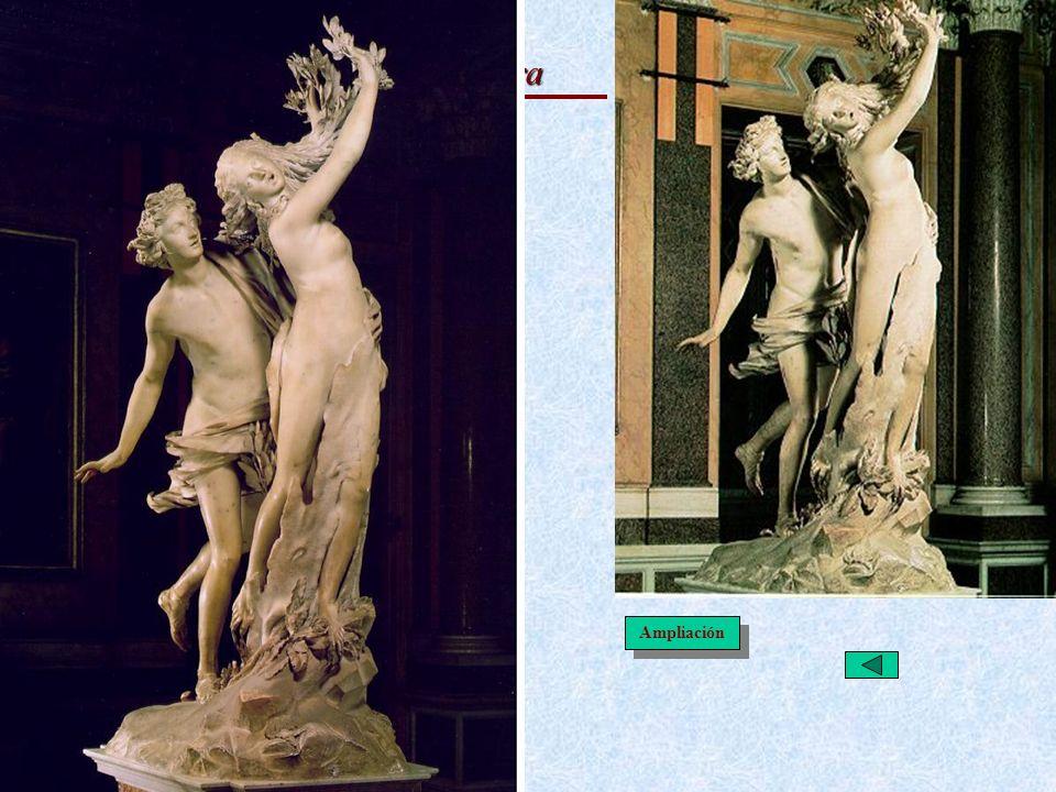 El Barroco Italiano: Escultura Apolo y Dafne · Metamorfosis de Ovidio (Mitología) · Parálisis en momento crucial. · Dinamismo, carrera, bloque asimétr