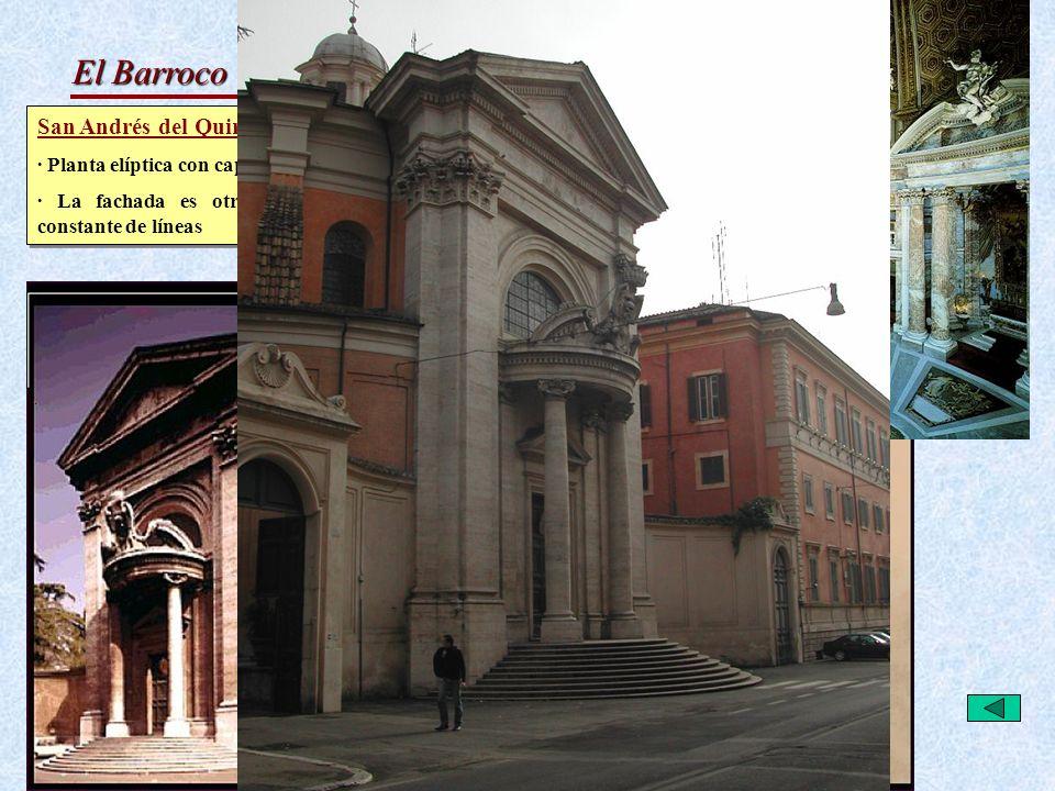 El Barroco Italiano: Arquitectura Bernini San Andrés del Quirinal · Planta elíptica con capillas alrededor y altar resaltado al exterior. · La fachada