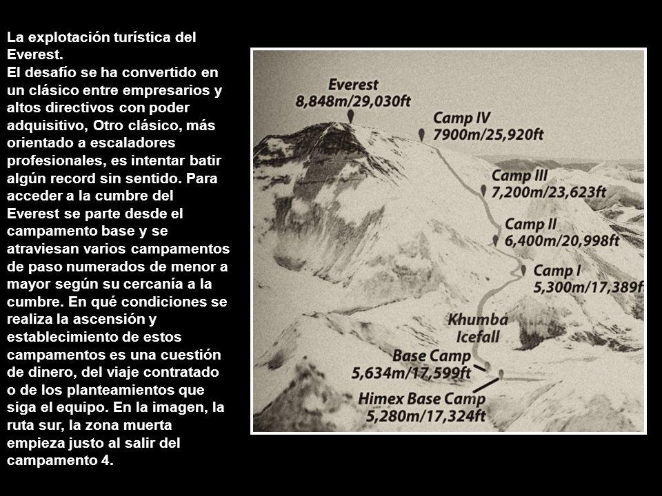 Los peligros del Everest; la zona muerta, mal de altura, congelación y grietas. Para evitarlos, los escaladores realizan periodos de aclimatación. Al
