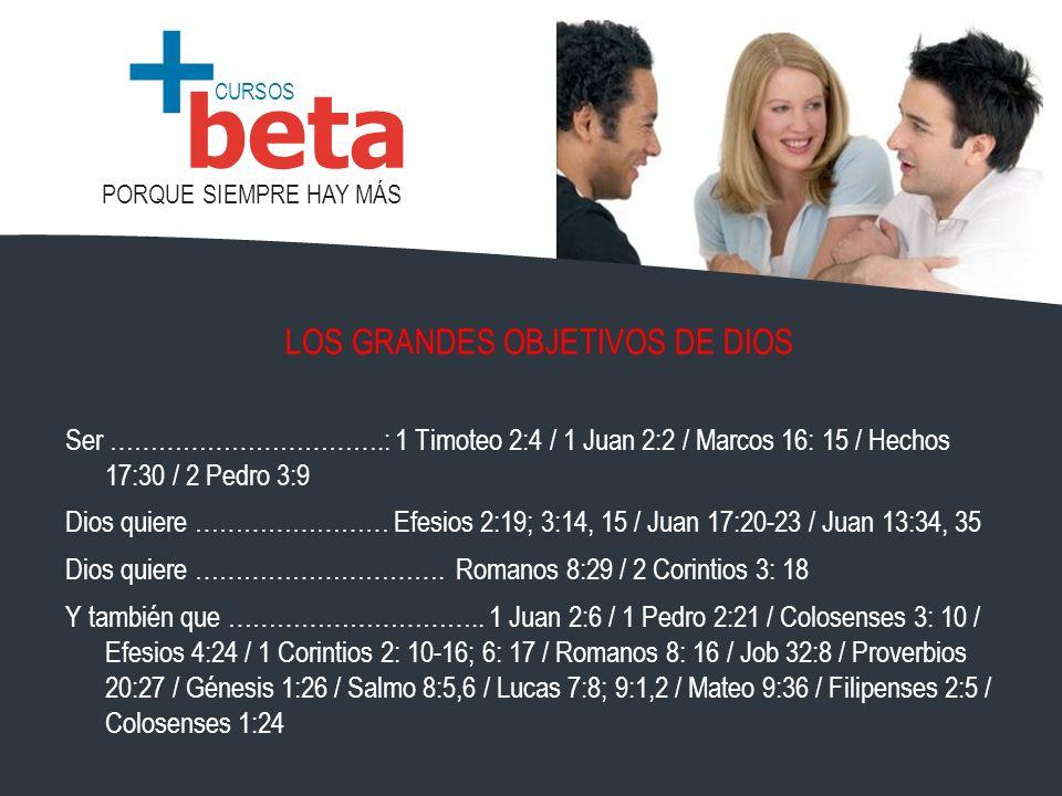 CURSOS PORQUE SIEMPRE HAY MÁS beta + LOS GRANDES OBJETIVOS DE DIOS Ser …………………………….: 1 Timoteo 2:4 / 1 Juan 2:2 / Marcos 16: 15 / Hechos 17:30 / 2 Ped