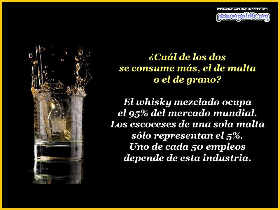 ¿Cuántas clases de whisky escocés existen? Hay dos sólamente: El de malta y el de grano. El primero sólo se hace de cebada malteada y el segundo es la