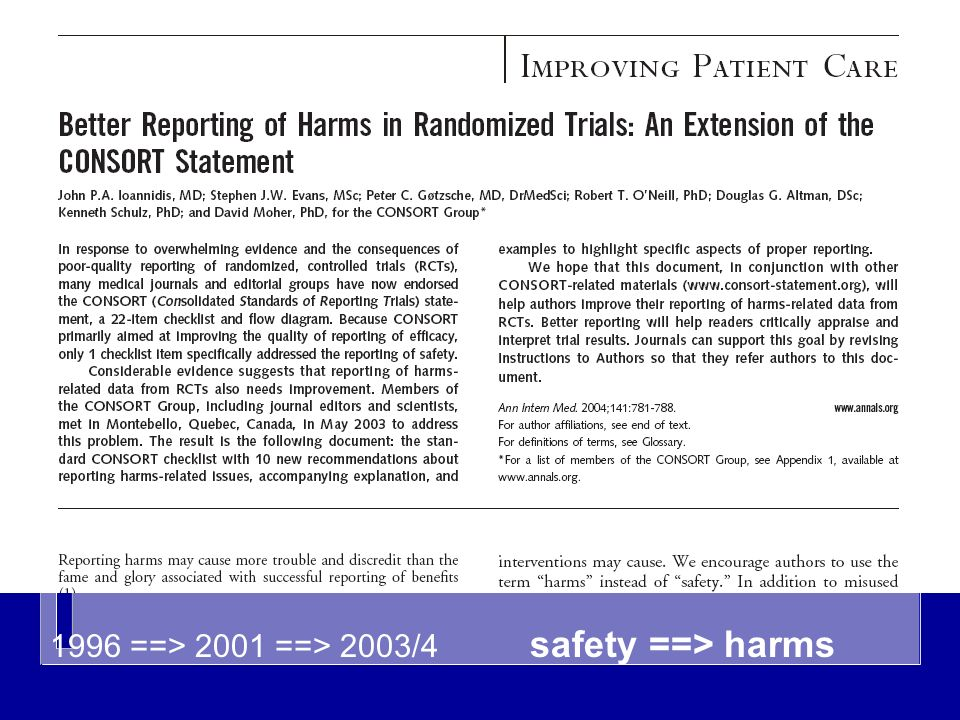 1996 ==> 2001 ==> 2003/4 safety ==> harms