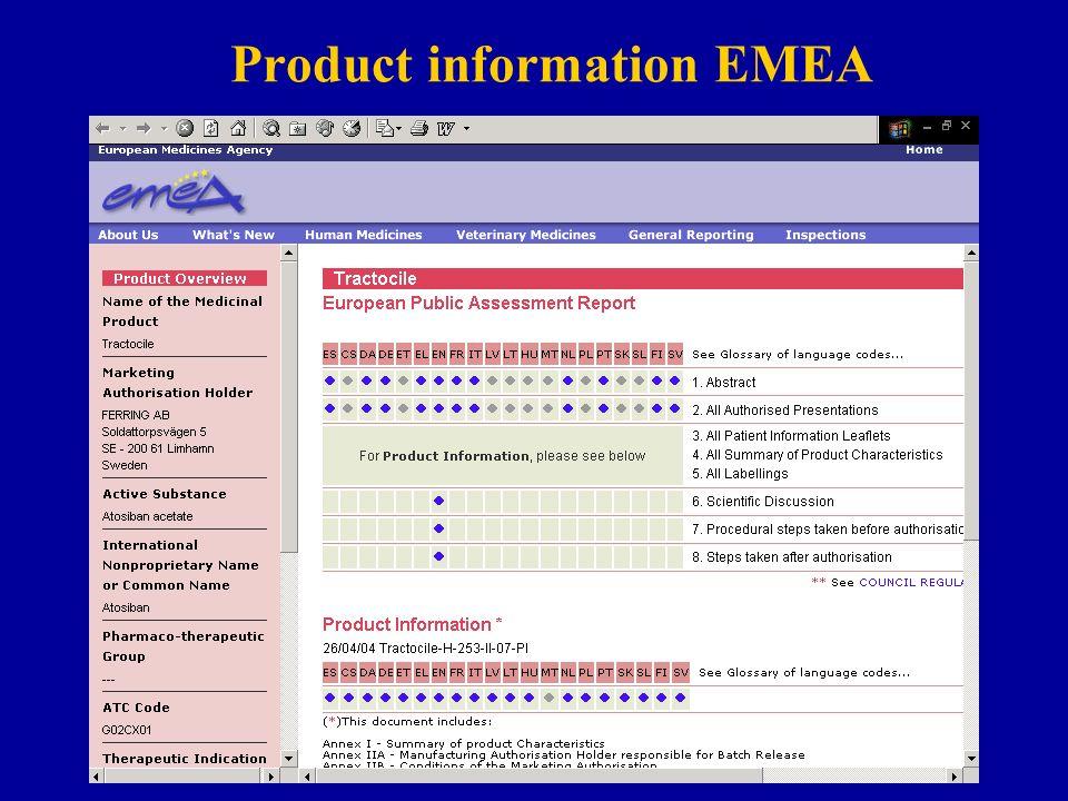 Product information EMEA