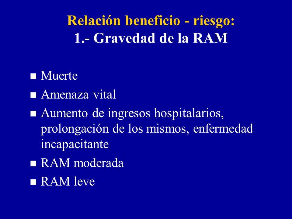 Relación beneficio - riesgo: 1.- Gravedad de la RAM n Muerte n Amenaza vital n Aumento de ingresos hospitalarios, prolongación de los mismos, enfermedad incapacitante n RAM moderada n RAM leve