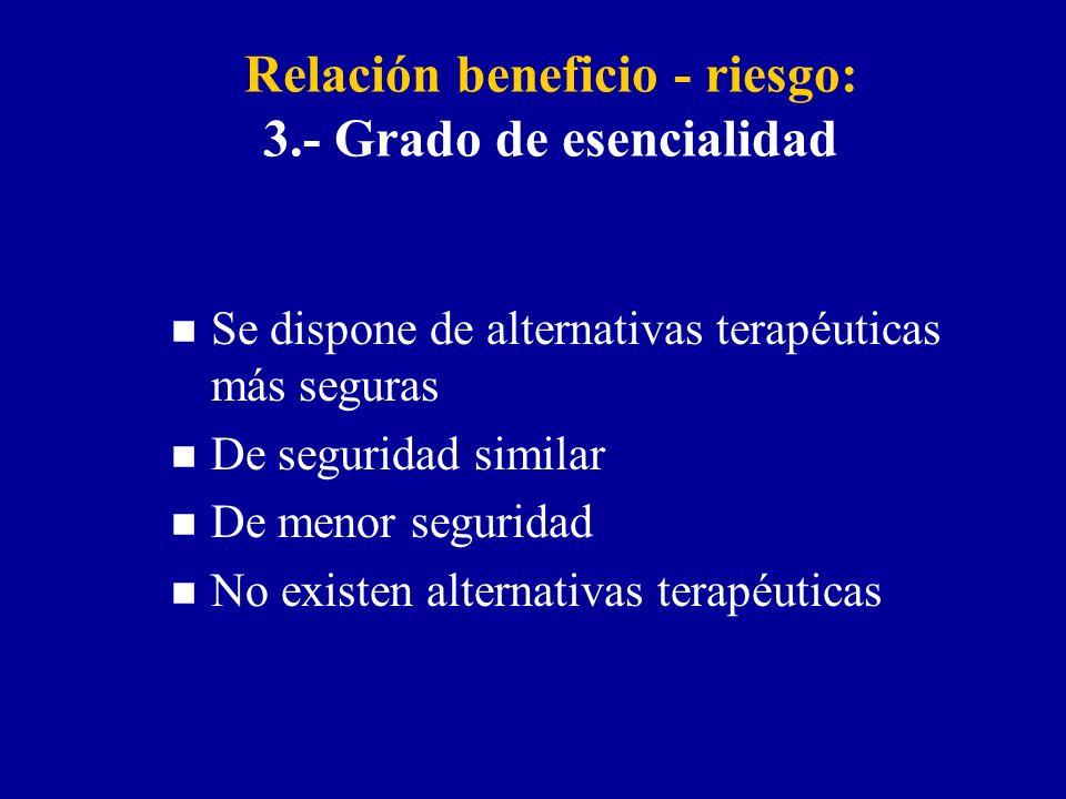 Relación beneficio - riesgo: 3.- Grado de esencialidad n Se dispone de alternativas terapéuticas más seguras n De seguridad similar n De menor seguridad n No existen alternativas terapéuticas