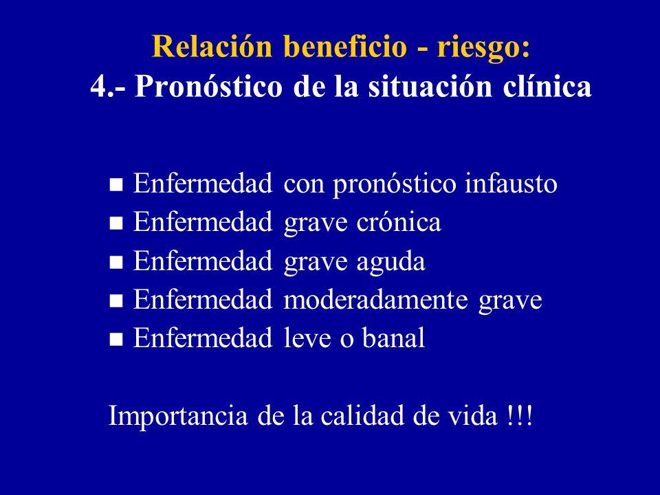 Relación beneficio - riesgo: 4.- Pronóstico de la situación clínica n Enfermedad con pronóstico infausto n Enfermedad grave crónica n Enfermedad grave