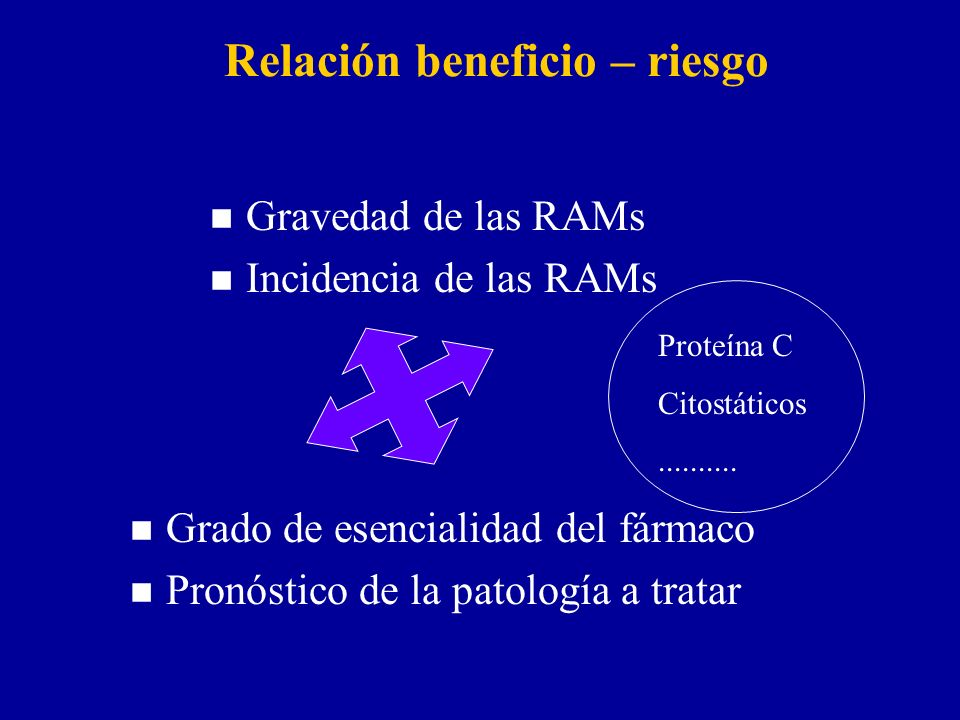 Relación beneficio – riesgo n Gravedad de las RAMs n Incidencia de las RAMs n Grado de esencialidad del fármaco n Pronóstico de la patología a tratar Proteína C Citostáticos..........