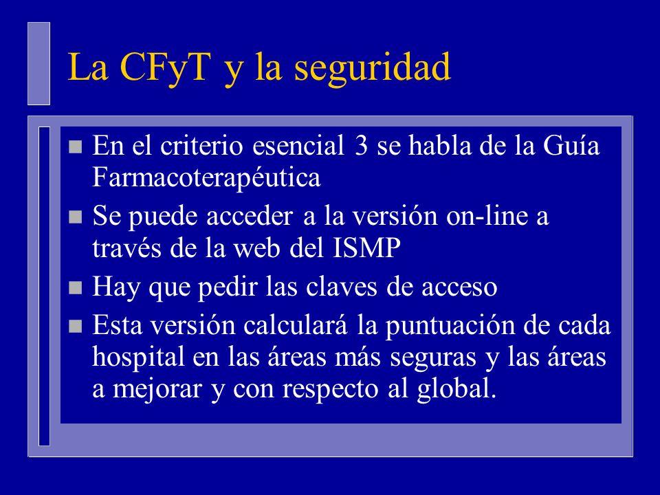 La CFyT y la seguridad n En el criterio esencial 3 se habla de la Guía Farmacoterapéutica n Se puede acceder a la versión on-line a través de la web del ISMP n Hay que pedir las claves de acceso n Esta versión calculará la puntuación de cada hospital en las áreas más seguras y las áreas a mejorar y con respecto al global.
