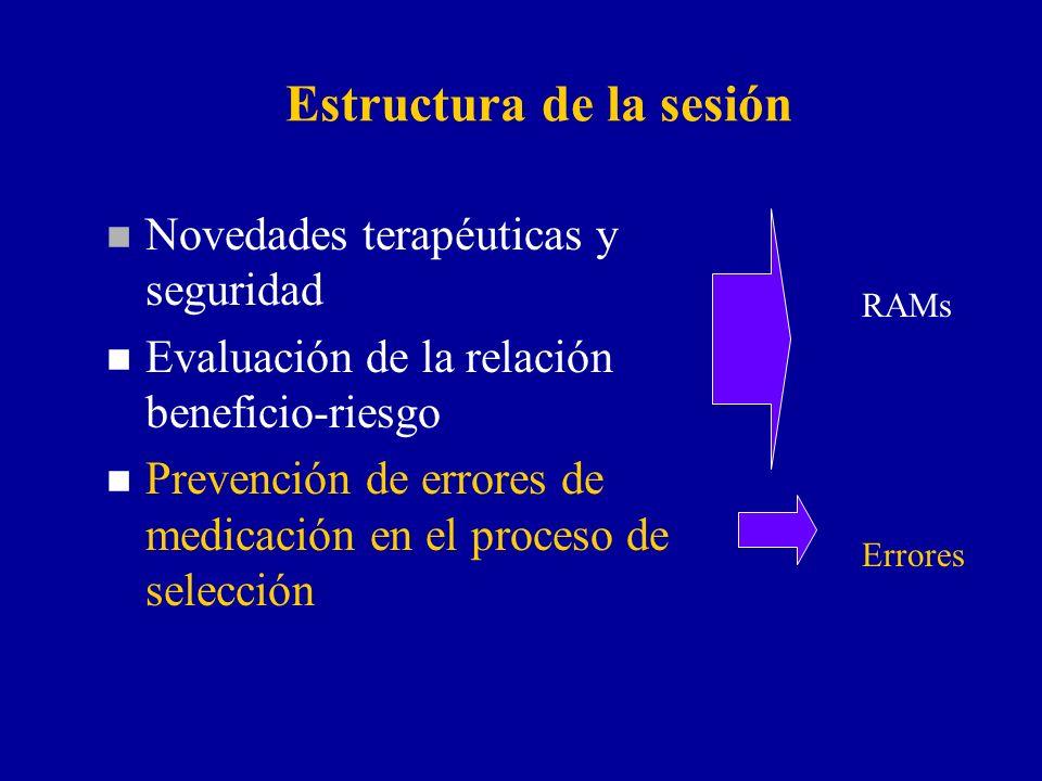 Estructura de la sesión n Novedades terapéuticas y seguridad n Evaluación de la relación beneficio-riesgo n Prevención de errores de medicación en el proceso de selección RAMs Errores