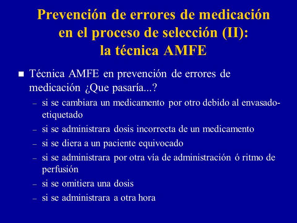 Prevención de errores de medicación en el proceso de selección (II): la técnica AMFE n Técnica AMFE en prevención de errores de medicación ¿Que pasaría....