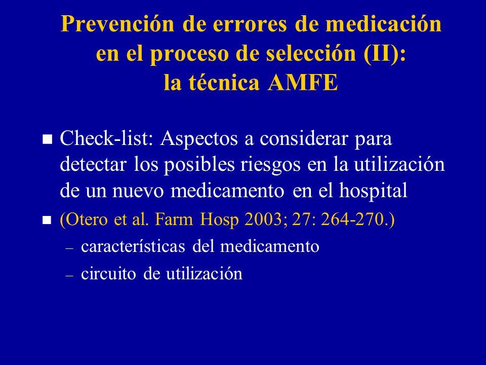 Prevención de errores de medicación en el proceso de selección (II): la técnica AMFE n Check-list: Aspectos a considerar para detectar los posibles riesgos en la utilización de un nuevo medicamento en el hospital n (Otero et al.