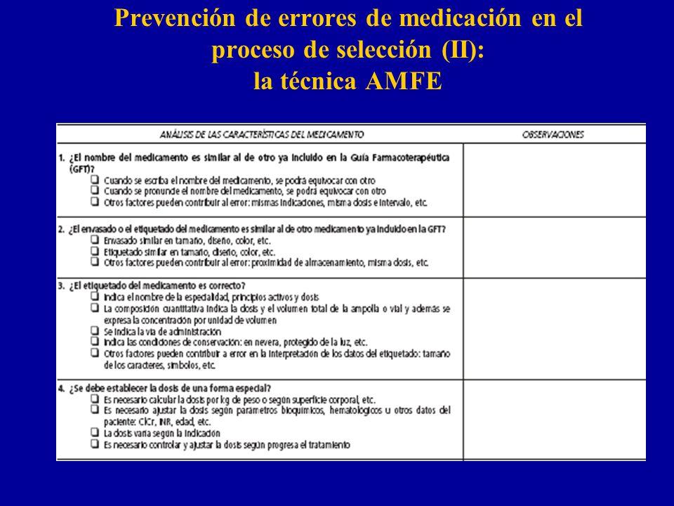Prevención de errores de medicación en el proceso de selección (II): la técnica AMFE