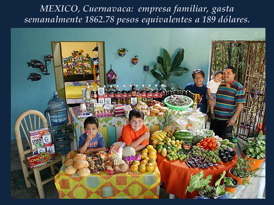 MEXICO, Cuernavaca: empresa familiar, gasta semanalmente 1862.78 pesos equivalentes a 189 dólares.