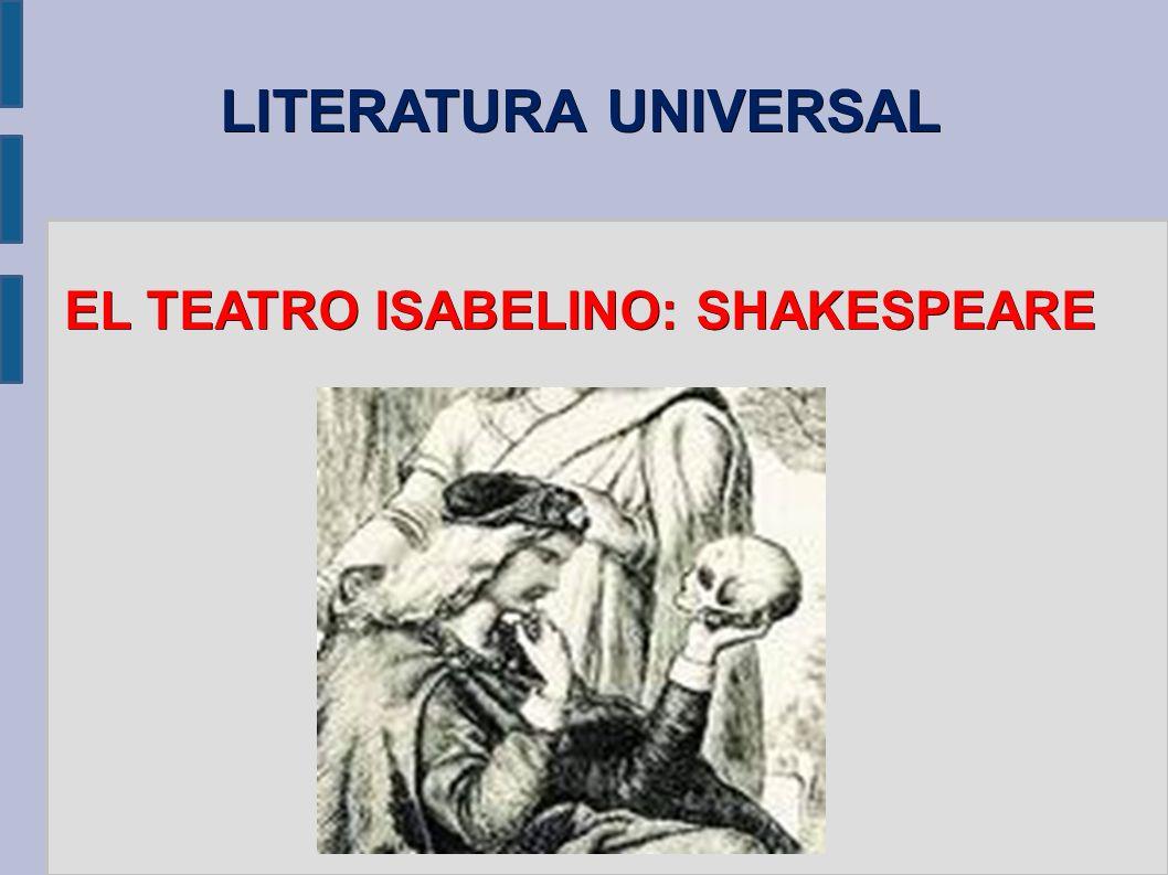 TEATRO CLÁSICO INGLÉS SHAKESPEARE - TRAGEDIA Shakespeare, hombre renacentista: – Armonía universo y naturaleza – Armonía rota = tragedia – Completo estudio alma humana: tentaciones del poder (Macbeth), los celos (Otelo) o la venganza (Hamlet)