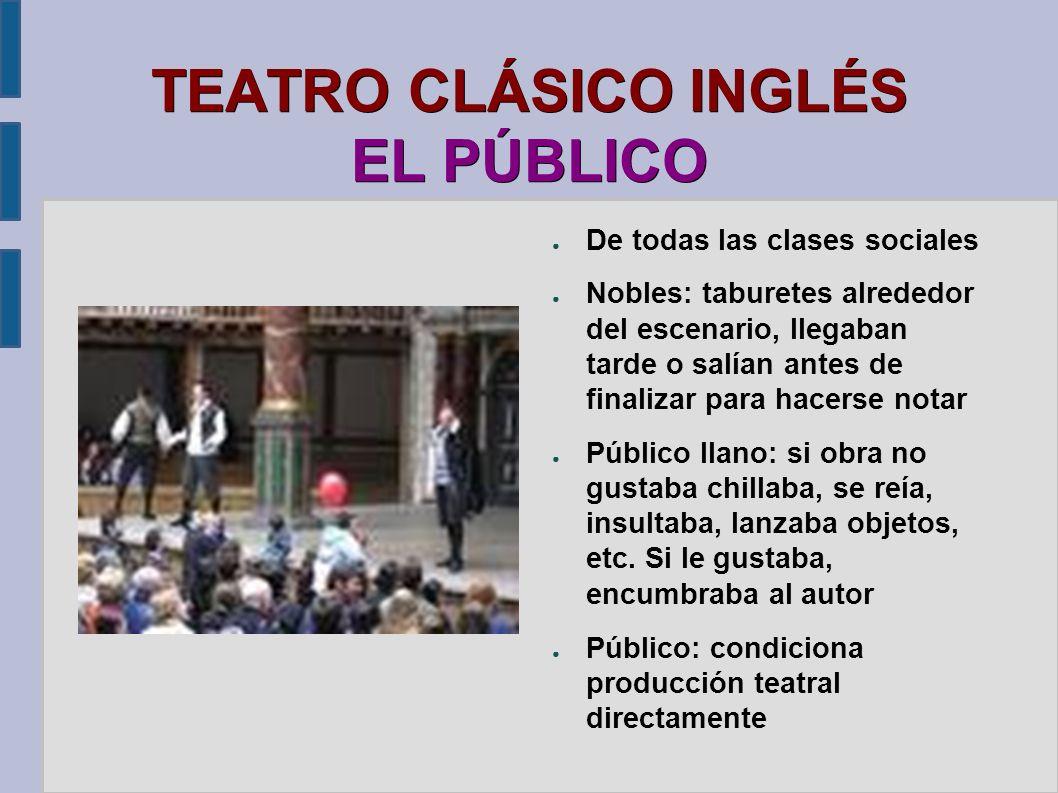 TEATRO CLÁSICO INGLÉS EL PÚBLICO De todas las clases sociales Nobles: taburetes alrededor del escenario, llegaban tarde o salían antes de finalizar pa