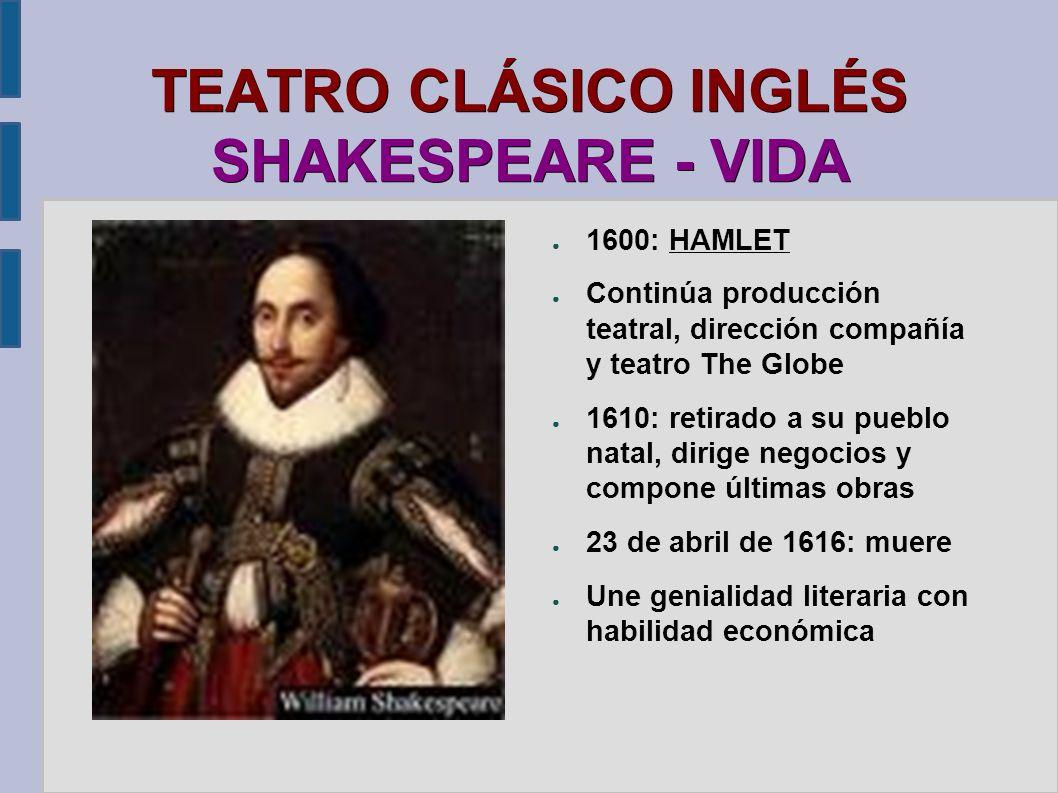 TEATRO CLÁSICO INGLÉS SHAKESPEARE - VIDA 1600: HAMLET Continúa producción teatral, dirección compañía y teatro The Globe 1610: retirado a su pueblo na