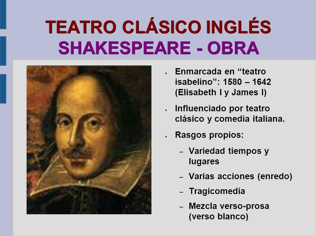 TEATRO CLÁSICO INGLÉS SHAKESPEARE - OBRA Enmarcada en teatro isabelino: 1580 – 1642 (Elisabeth I y James I) Influenciado por teatro clásico y comedia