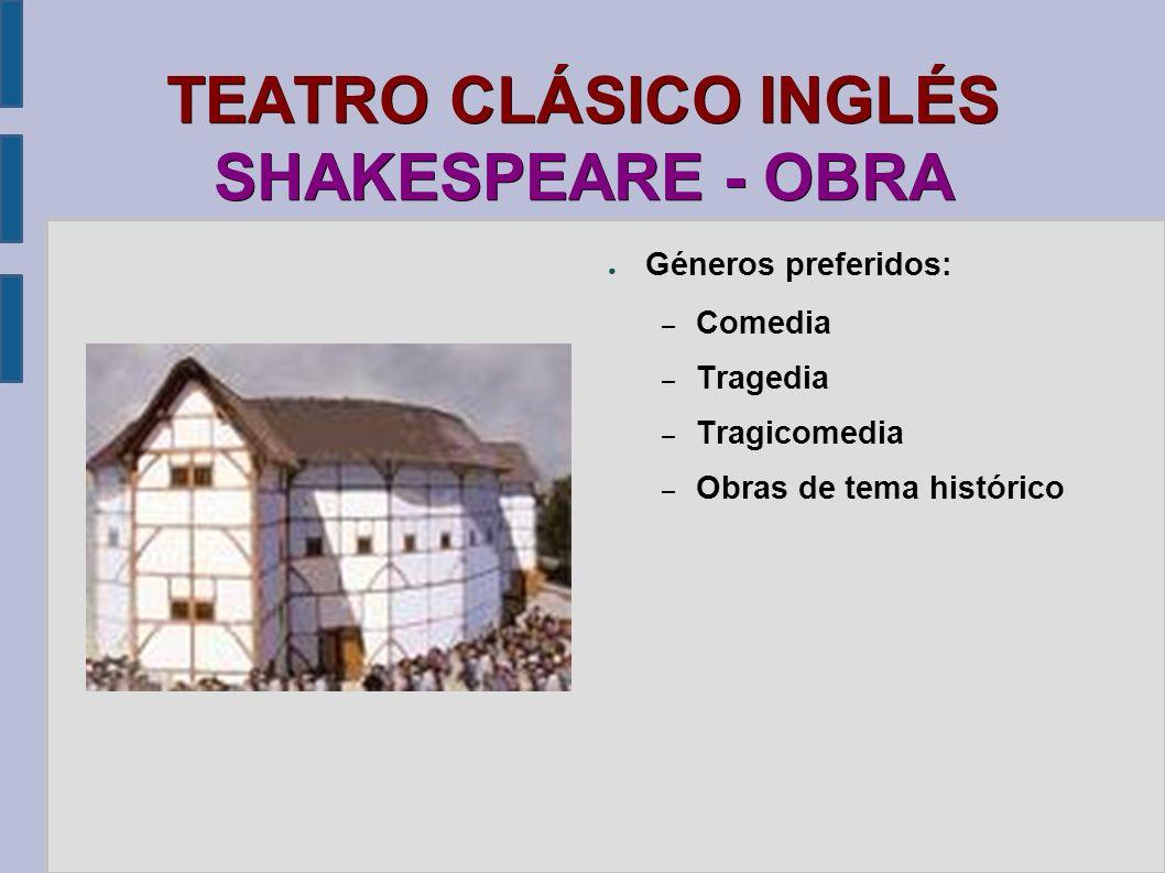 TEATRO CLÁSICO INGLÉS SHAKESPEARE - OBRA Géneros preferidos: – Comedia – Tragedia – Tragicomedia – Obras de tema histórico