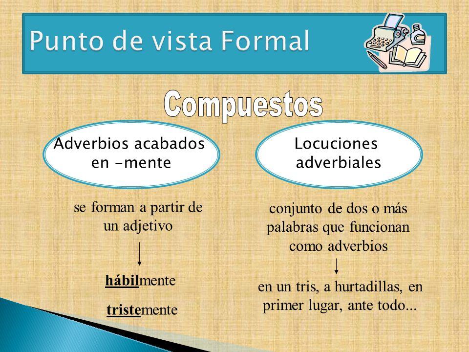 Adverbios acabados en -mente Locuciones adverbiales se forman a partir de un adjetivo conjunto de dos o más palabras que funcionan como adverbios hábi
