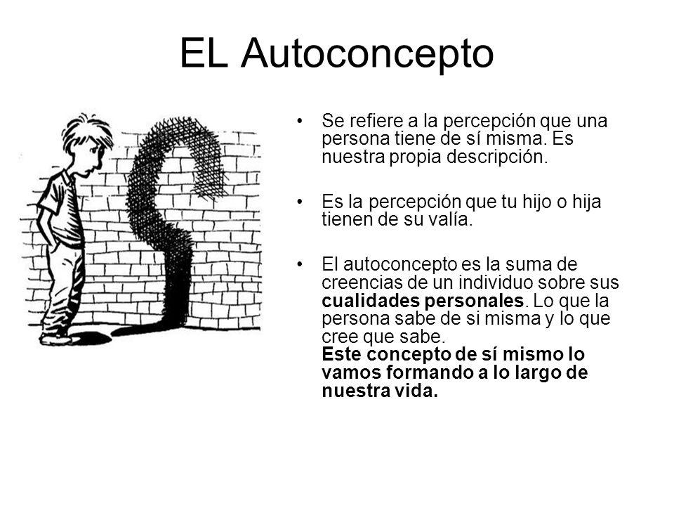EL Autoconcepto Se refiere a la percepción que una persona tiene de sí misma. Es nuestra propia descripción. Es la percepción que tu hijo o hija tiene