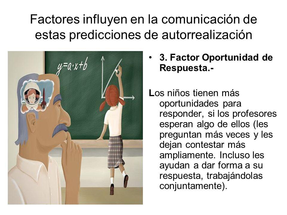 Factores influyen en la comunicación de estas predicciones de autorrealización 3. Factor Oportunidad de Respuesta.- Los niños tienen más oportunidades
