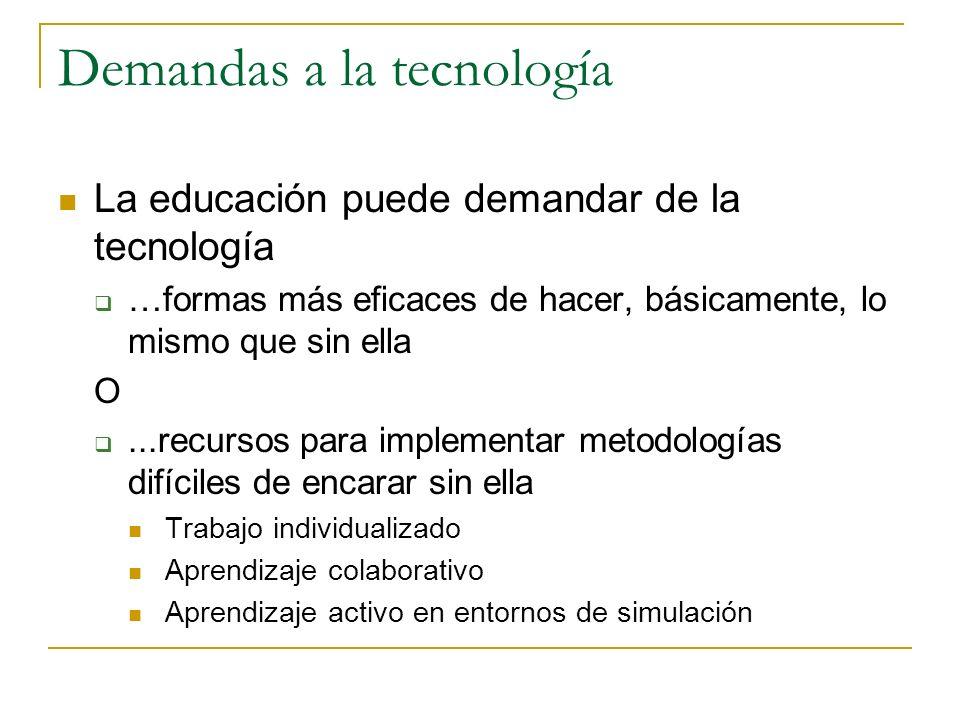 Demandas a la tecnología La educación puede demandar de la tecnología …formas más eficaces de hacer, básicamente, lo mismo que sin ella O...recursos p