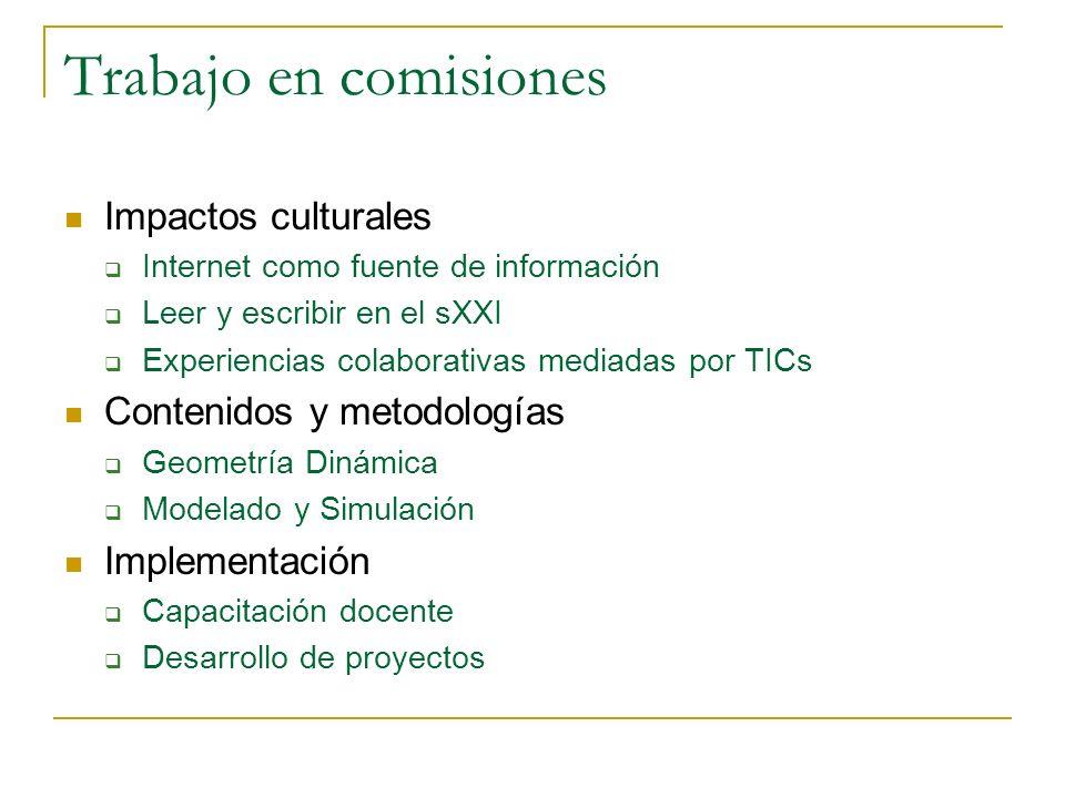 Trabajo en comisiones Impactos culturales Internet como fuente de información Leer y escribir en el sXXI Experiencias colaborativas mediadas por TICs