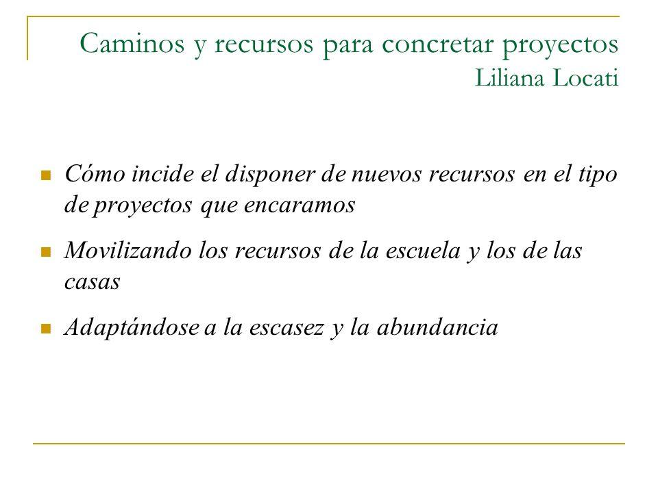 Caminos y recursos para concretar proyectos Liliana Locati Cómo incide el disponer de nuevos recursos en el tipo de proyectos que encaramos Movilizand
